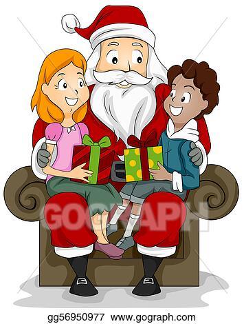 clipart kids and santa stock illustration gg56950977 gograph rh gograph com Games Clip Art Santa Santa Art