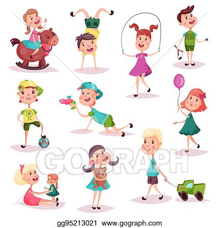 Vector Art Kids At Playing With Toys And Soccer Ball Clipart