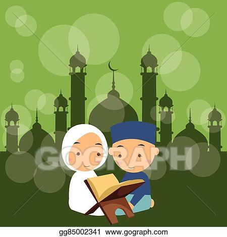 Moslem boy reading quran bw Royalty Free Vector Image