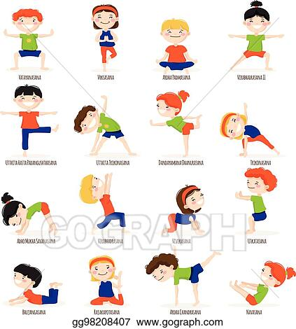 Clip Art Vector Kids Children Yoga Poses Cartoon Set Stock Eps Gg98208407 Gograph
