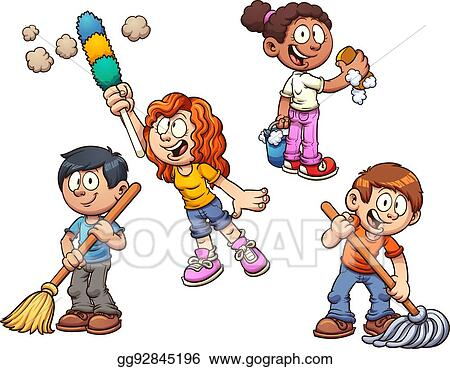 Vector Art Kids Cleaning Clipart Drawing Gg92845196 Gograph