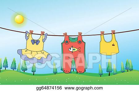 The Kids Clothesline Awesome Vector Art Kids Clothes Hanging Under The Sun Clipart Drawing