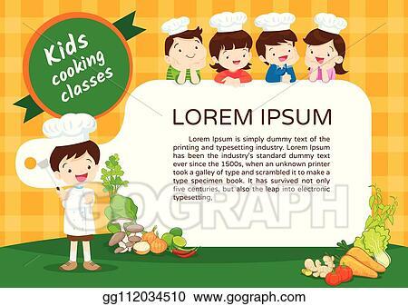Clip Art Vector Kids Cooking Class Certificate 4 Stock Eps Gg112034510 Gograph