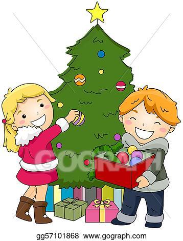 Christmas Decorating Clip Art.Clip Art Kids Decorating A Christmas Tree Stock