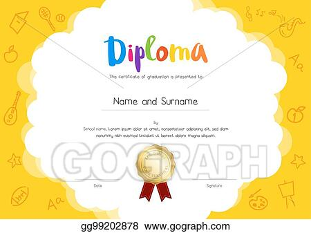 Vector Clipart Kids Diploma Or Certificate Template With Hand