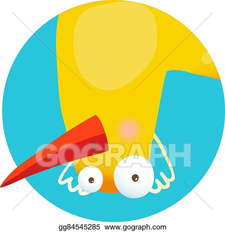 Eps Illustration Kids Duck Upside Down Funny Icon Vector Clipart