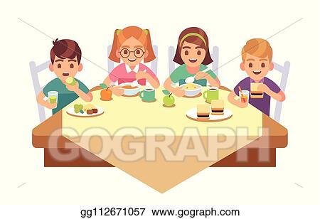 Vector Clipart Kids Eat Together Children Eating Dinner Cafe