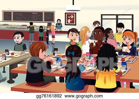 vector art kids eating at the school cafeteria clipart drawing rh gograph com Cafeteria Lunch Clip Art From the Cafeteria