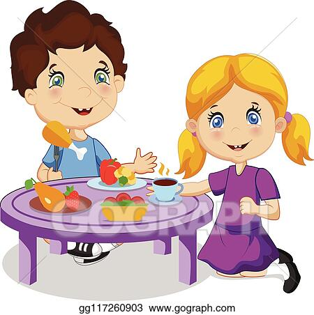 Vector Art Kids Eating Cartoon Boy And Girl Sitting At Table Eps Clipart Gg117260903 Gograph