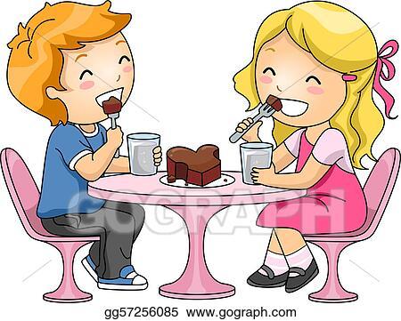 Stock Illustration - Kids eating chocolate cake. Clip Art ...