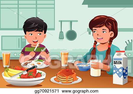 Vector Stock Kids Eating Healthy Breakfast Clipart Illustration Gg70921571 Gograph