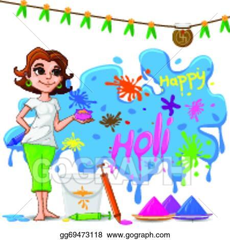 Vector Art Kids Enjoying Holi Clipart Drawing Gg69473118 Gograph