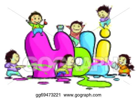 Vector Art Kids Enjoying Holi Clipart Drawing Gg69473221 Gograph