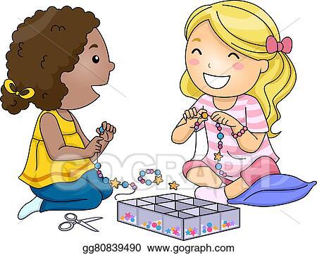 Drawings Kids Girls Bead Accessories Stock Illustration
