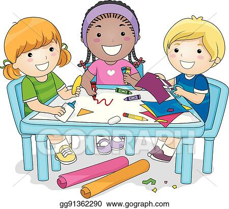 Eps Illustration Kids Group Art Project Vector Clipart Gg91362290