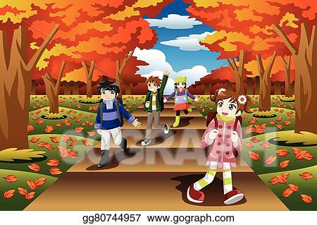 vector stock kids hiking in the fall season clipart illustration rh gograph com fall season clipart free fall season clipart black and white