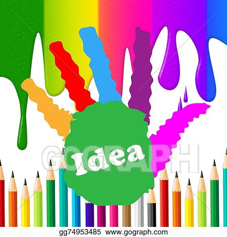 909a237f5 Drawings - Kids ideas means color colorful and toddlers. Stock ...