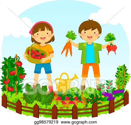 kids in a vegetable garden - Garden Clipart