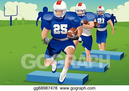 Clip Art Vector Kids In American Football Practice Stock
