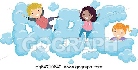 vector art kids in an abc cloud eps clipart gg64710640 gograph rh gograph com