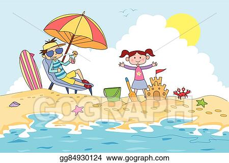 Vector Clipart Kids Making Sand Castle In Summer Camp Vector