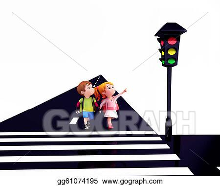 Drawings Kids Observing The Signal Lights Stock Illustration