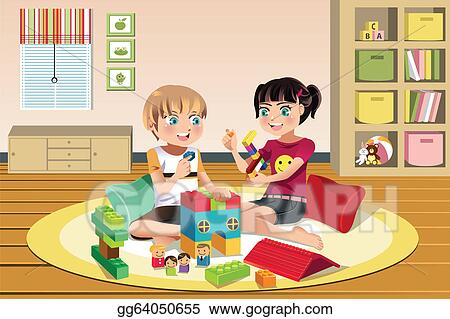 Vector Clipart Kids Playing Toys Vector Illustration Gg64050655