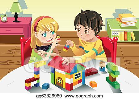 Vector Illustration Kids Playing With Toys Stock Clip Art