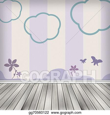 Kids Room Empty Interior With Wallpaper High Resolution Texture Background