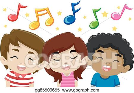 vector illustration kids singing with music notes stock clip art rh gograph com Christian Singing Clip Art Singing Silhouette Clip Art