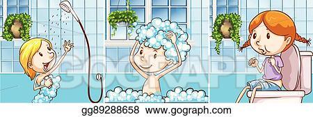 Kids Taking Shower In The Bathroom