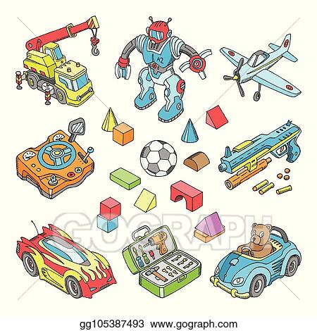Vector Illustration Kids Toys Vector Cartoon Boyish Games In