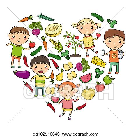 Eps Vector Kindergarten Nursery Preschool School Kids Eat Healthy Food Boys And Girls With Fruits And Vegetables Children Cafe Menu Restaurant Vitamins Stock Clipart Illustration Gg102516643 Gograph