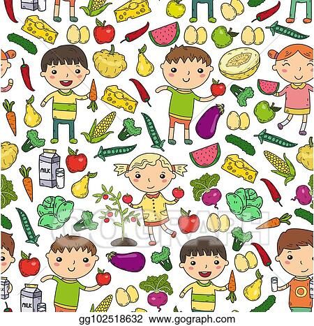 Eps Vector Kindergarten Nursery Preschool School Kids Eat Healthy Food Boys And Girls With Fruits And Vegetables Children Cafe Menu Restaurant Vitamins Stock Clipart Illustration Gg102518632 Gograph