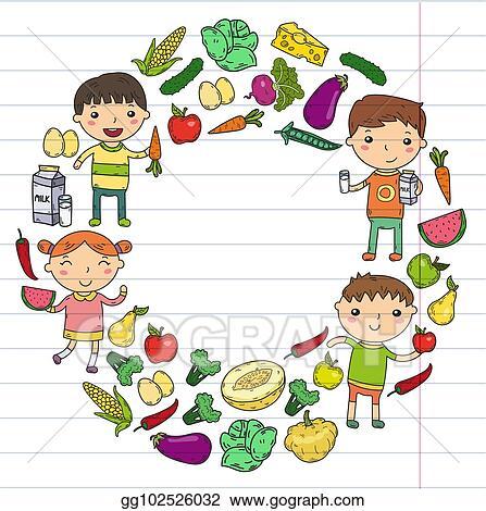 Eps Vector Kindergarten Nursery Preschool School Kids Eat Healthy Food Boys And Girls With Fruits And Vegetables Children Cafe Menu Restaurant Vitamins Stock Clipart Illustration Gg102526032 Gograph