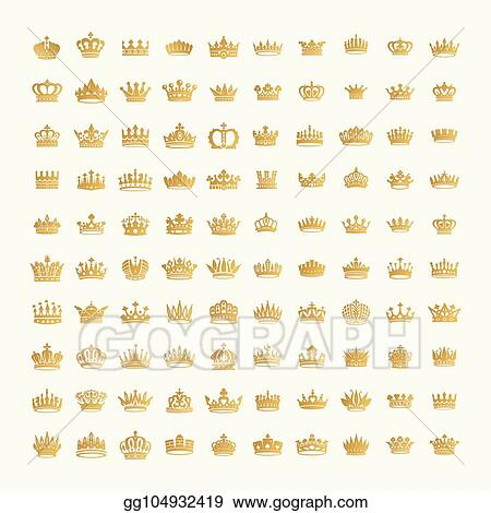 Vector Stock King And Queen Crowns Symbols Stock Clip Art