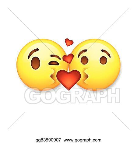 Vector Stock - Kissing emoticons, valentines day emoticon