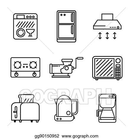 Vector Clipart Kitchen Appliances Icon Set Vector Illustration