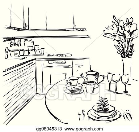 Vector Stock Kitchen Interior Drawing Vector Illustration Dinner