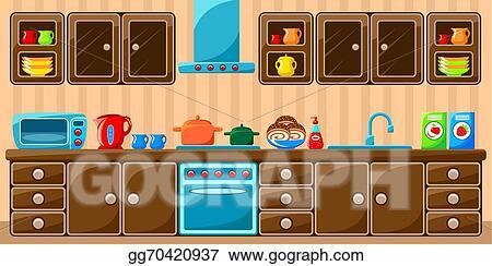 Eps Vector Kitchen Interior Stock Clipart Illustration