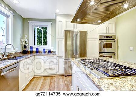 Stock Images Kitchen Island With Built In Stove Granite Top And