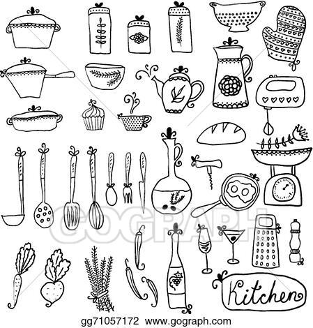 Vector Art Kitchen Set In Vector Stylish Design Elements Of