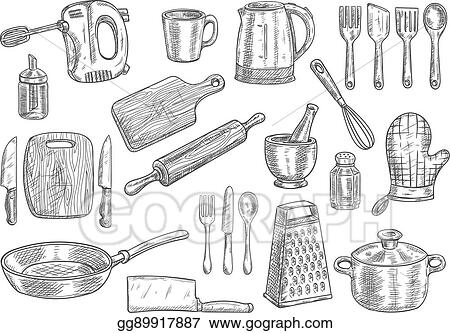 Vector Art   Kitchen Utensils And Appliances Isolated ...