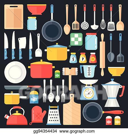 EPS Illustration - Kitchen utensils set. kitchenware ...