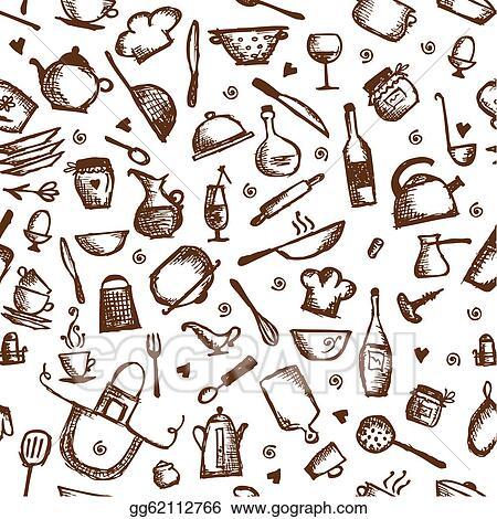 Kitchen Utensils Art vector art - kitchen utensils sketch, seamless pattern. clipart
