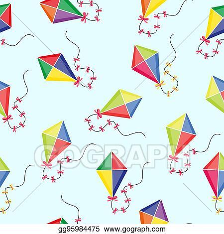Vector Art Kite Seamless Pattern Summer Children's Endless Impressive Kite Pattern