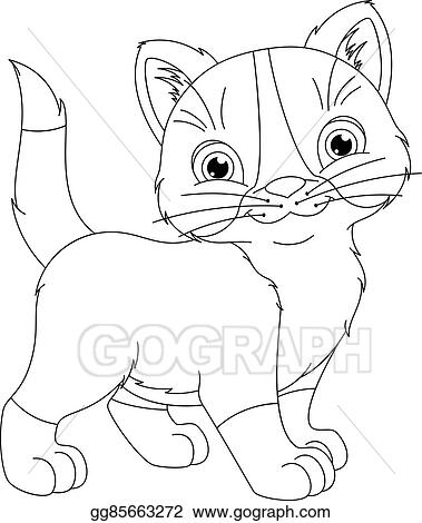 Eps Vector Kitten Coloring Page Stock Clipart Illustration