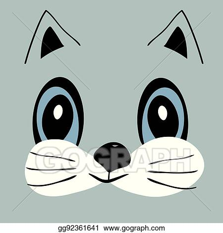 Vector Art Kitty Cute Funny Cartoon Cat Head Eps Clipart Gg92361641 Gograph
