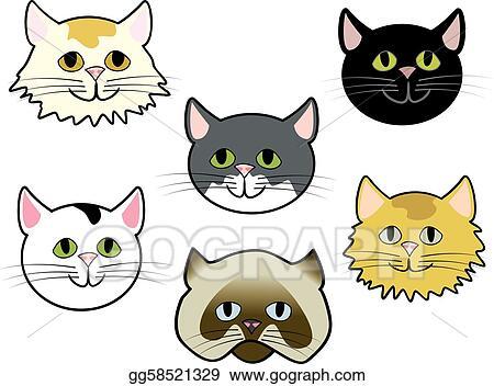 Clip Art Vector Kitty Faces Stock Eps Gg58521329 Gograph