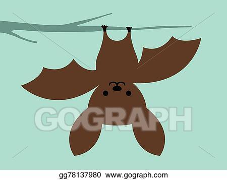 Vektor Clipart Klein Fledermaus Hangend Umgedreht Vektor Illustration Gg78137980 Gograph